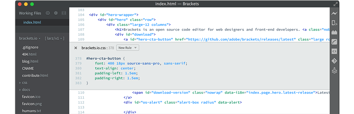 Brackets Alternatives to Notepad++ for Mac OS
