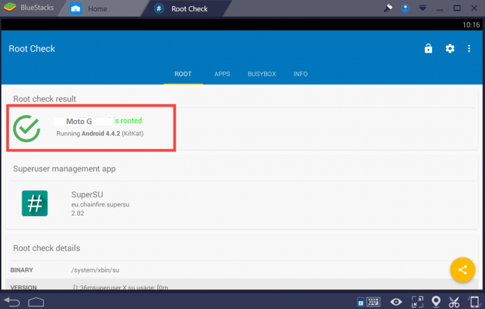 Root check Root Bluestacks 3 for Android