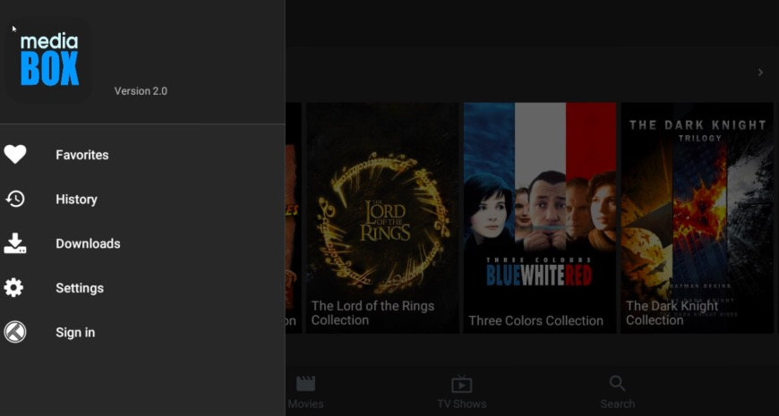MediaBox HD App Movies UI