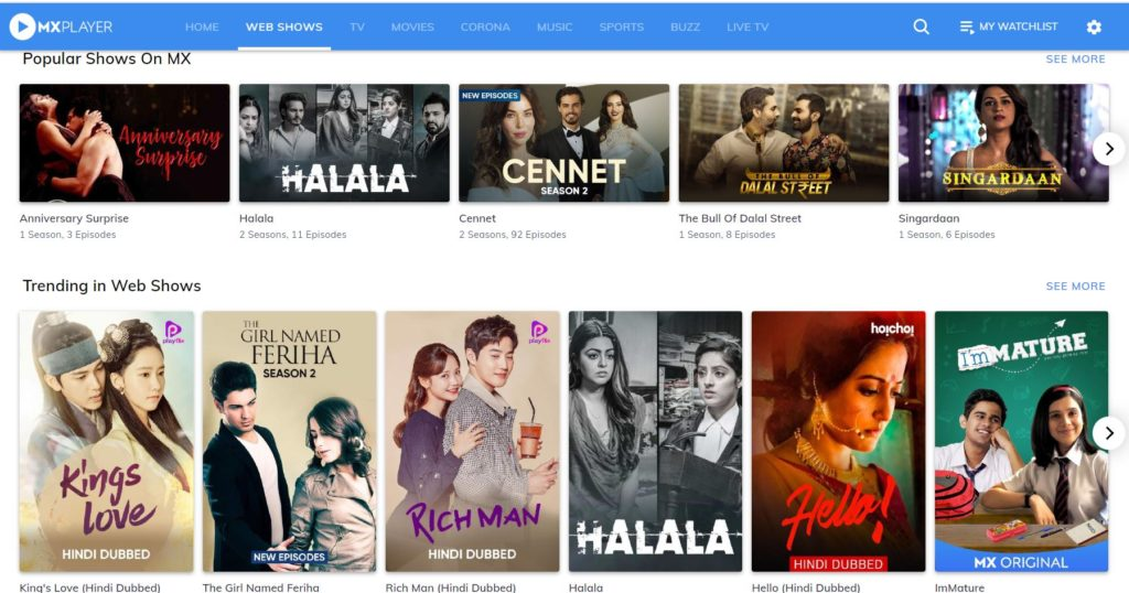 Best Websites To Download Web Series In Hindi- Mx Player