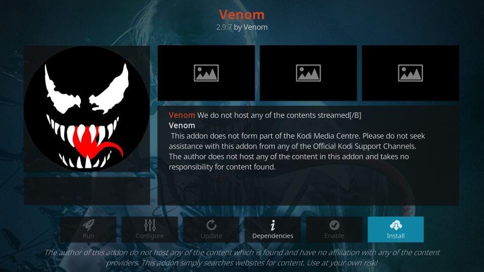 best kodi movie addons- venom